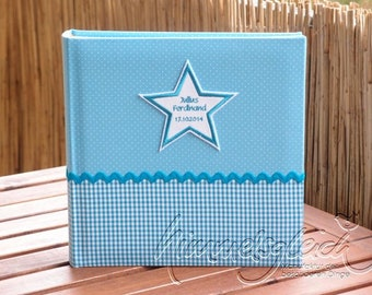 Photo album XL dots plaid turquoise white