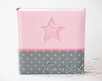Photo album XL dot stars pink grey