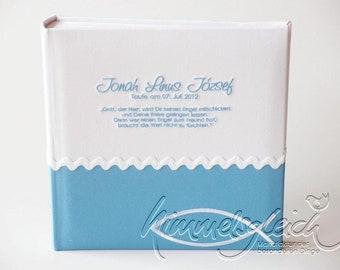 Photo album XL Kombi white light blue with baptismal fish