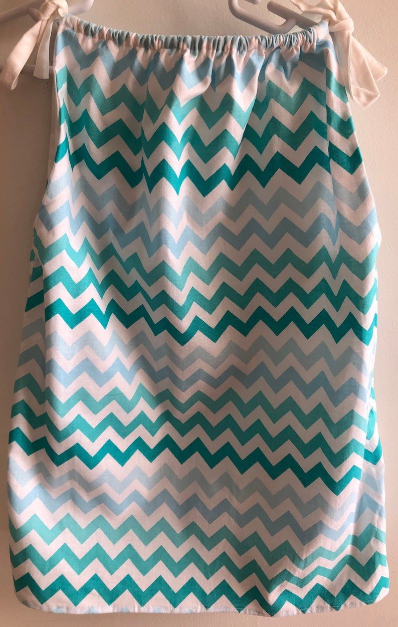 Lined Toddler or Preschooler Dress or Tunic in Size 3T to 5T Fabric Shades of Aqua Bluish Green and White Chevron Print Pillowcase Look