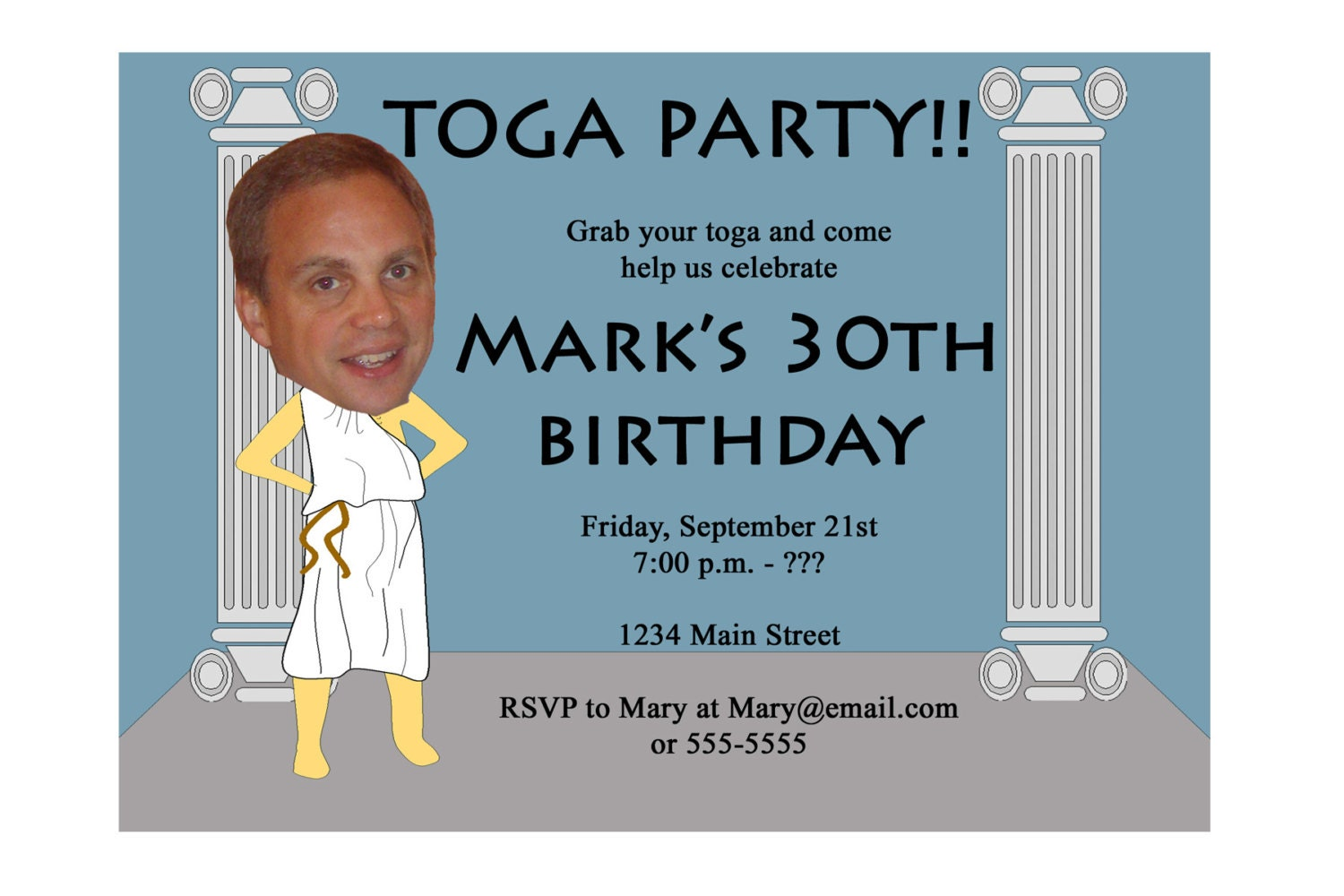 Awesome toga party invitation template gallery invitations example toga party invitation funny unique digital printable great stopboris Images