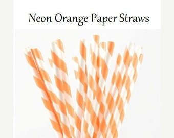 Neon Orange Striped Paper Straw, fluorescent