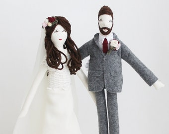 Wedding dolls, personalized dolls, custom portrait cloth dolls, family dolls from picture, unique anniversary wedding gift for couples