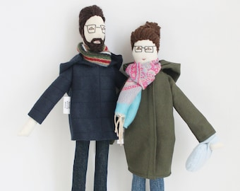 Personalized couple dolls, custom portrait cloth dolls, family dolls from picture, unique wool anniversary wedding gift for couples