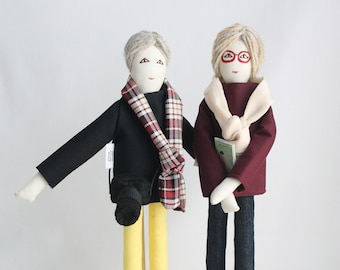 Personalized couple dolls, portrait dolls from picture, same sex couple dolls, lgbt dolls, unique wedding anniversary gift for couples