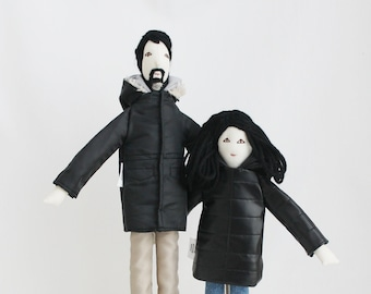 Personalized father and daughter dolls, single parent portrait cloth dolls, likeness dolls from picture