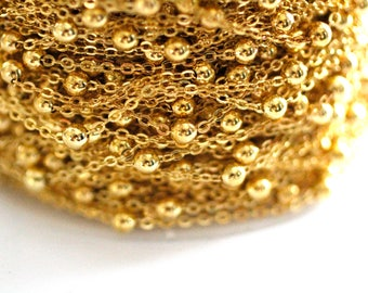 15ft Brass Gold Chain-Soldered Links-Cable Chain -Ball Chain-2x2mm