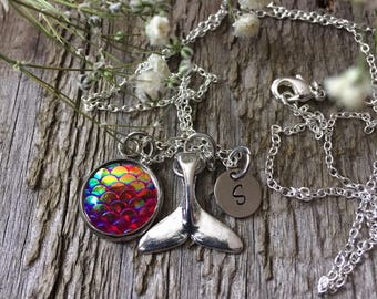 Down By The Sea Mermaid Tail Personalized Necklace