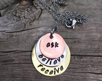 Ask Believe Receive Handstamped Layered Mixed Metals Necklace