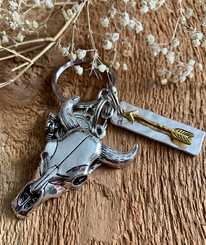 Country Cattle Bull Skull Arrow Personalized Initial Keychain