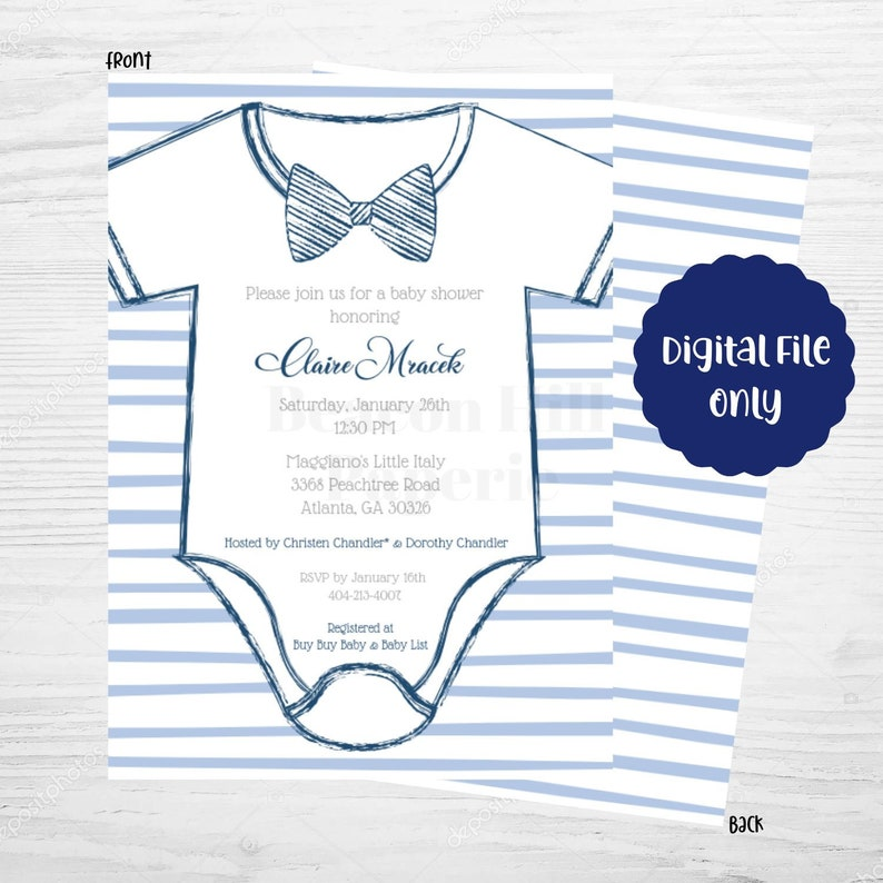 photo relating to Printable Onesie Baby Shower Invitations known as PRINTABLE Onesie Child Shower Invitation, Onesie Shower Invitation, Bowtie Invitation, Bow Tie Invitation, Little one Shower Invite, Invitation