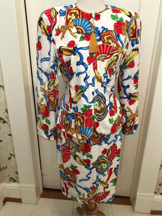 1980s Vintage Albert Nipon SILK Suit Labeled NIPON