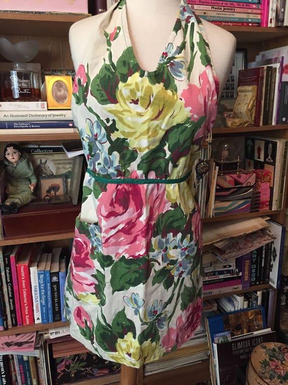 1940s Vintage BARKCLOTH APRON Floral Apron Full Ap