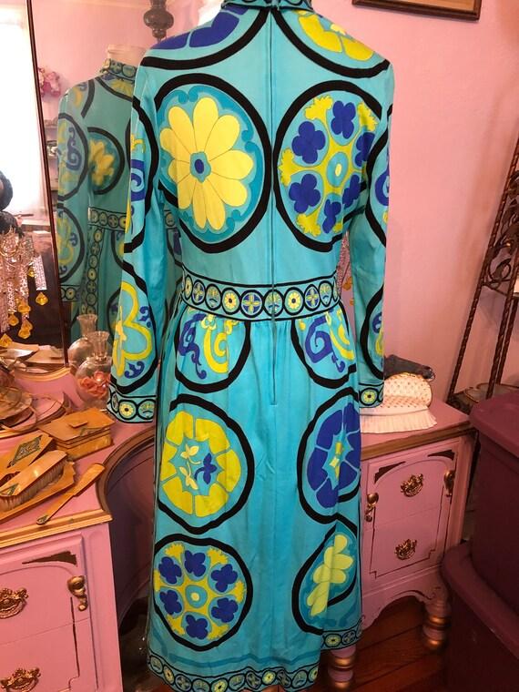 60s/70s Vintage Mr. DINO Signature Print Dress Si… - image 3