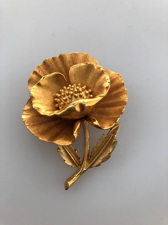 1960s Vintage TRIFARI POPPY BROOCH Trifari Floral