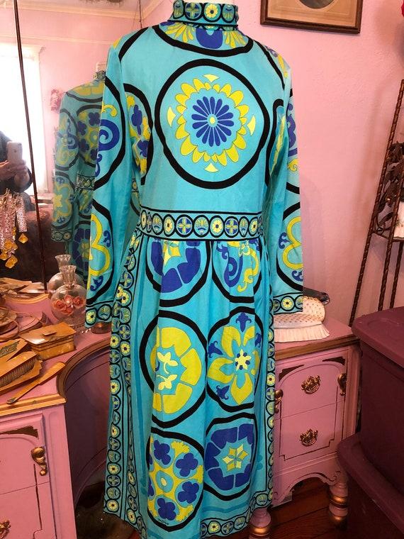 60s/70s Vintage Mr. DINO Signature Print Dress Si… - image 1