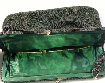 1950s Vintage  BEADED Bag Beaded PURSE Vintage Handbag HOLIDAY Handbag Vintage Bag Iridescent Green Seed Beads Satin Lining Estate Find