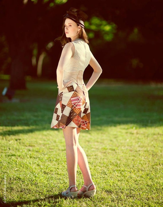 Vintage 60's Patchwork Pattern Mini-Dress - image 4