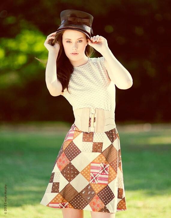 Vintage 60's Patchwork Pattern Mini-Dress - image 1