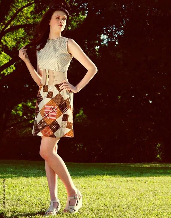 Vintage 60's Patchwork Pattern Mini-Dress - image 2