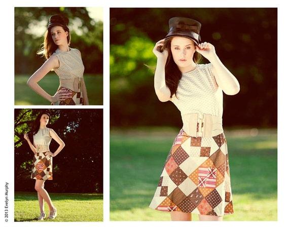Vintage 60's Patchwork Pattern Mini-Dress - image 5