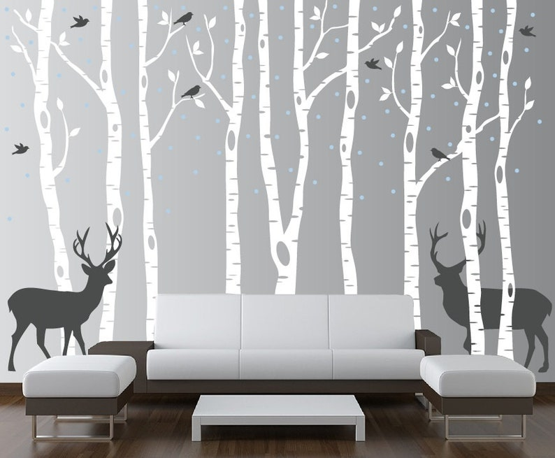 Birch Tree Wall Decal Forest with Snow Birds and Deer Vinyl image 0