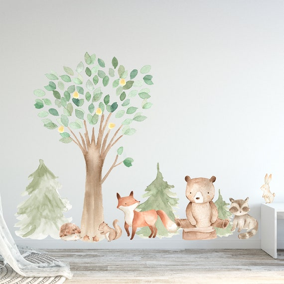 Woodland Watercolor Wall Decal Oak Pine Tree Animal Creatures