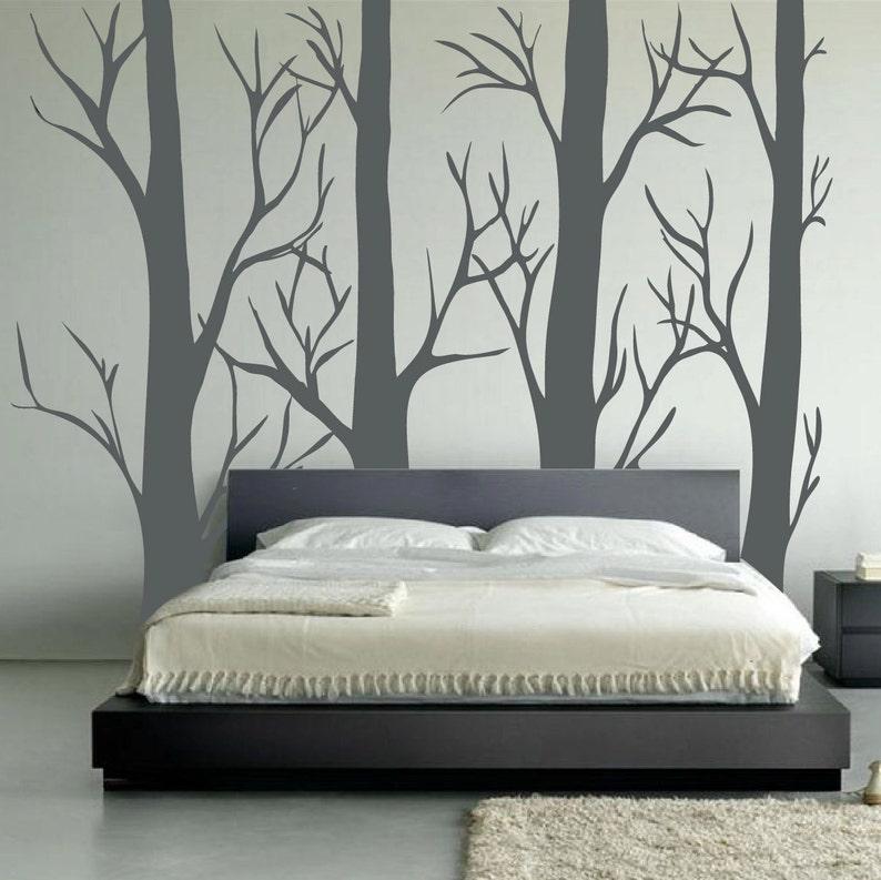 Nursery Birch Tree Wall Decal Forest Set  Vinyl Sticker Removable Kids Room Bedroom Decor Woodland Family 1310
