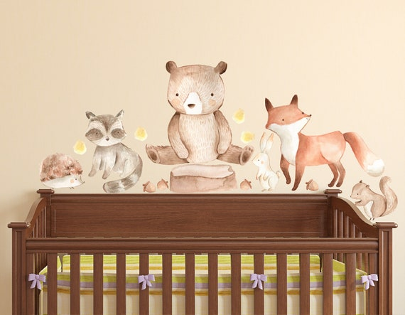 Watercolor Woodland Forest Animal Creatures Wall Decal Nursery
