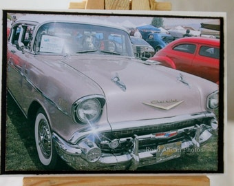 ACEO, Artist Trading Card, Pink 1957 Chevy