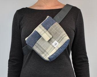 Belt bag, waist bag, fanny pack, travel bag, upcycled accessories, gift for travel, outdoors, bum bag, hiking, dog walking, pocket bag