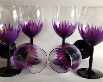 Wedding Anniversary Brides Maid  Party Hand Painted Wine Glasses set of 8