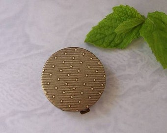 "Ready-To-Fill Solid Perfume Round, Flat-Top Compact with Refillable Pan, ""Swiss Dotted"",  SKU: B1338"