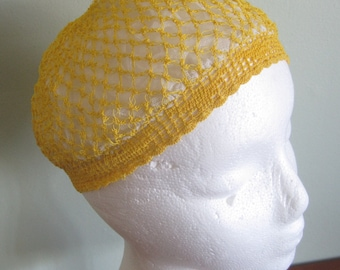 Antique Crocheted Snood - Yellow