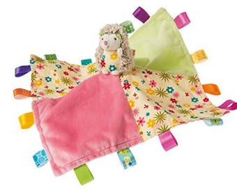 """Hedgehog Baby blanket - Ribbon blanket - 13"""" x 13"""" - Baby gift - personalized Taggie - baby shower gift"""