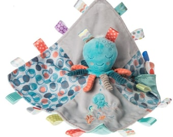 """Octopus Taggie Blanket, 13"""" x 13"""", baby shower gift, personalized soothing blanket"""