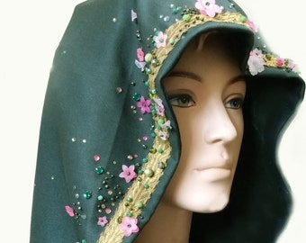 READY for SHIPPING Capelet Short cape cloak Flora beaded embroided