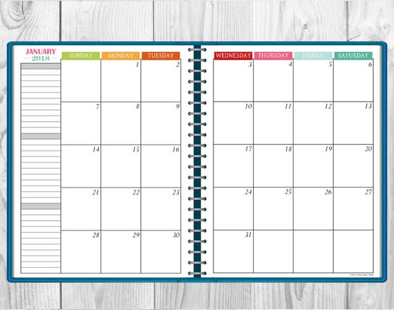 printable multi color 2018 monthly calendar two page spread etsy