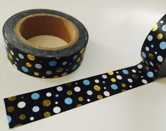 Blue and Gold Dot Washi Tape