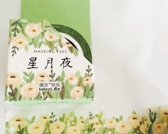 Creme Colored Cabbage Rose Washi Tape