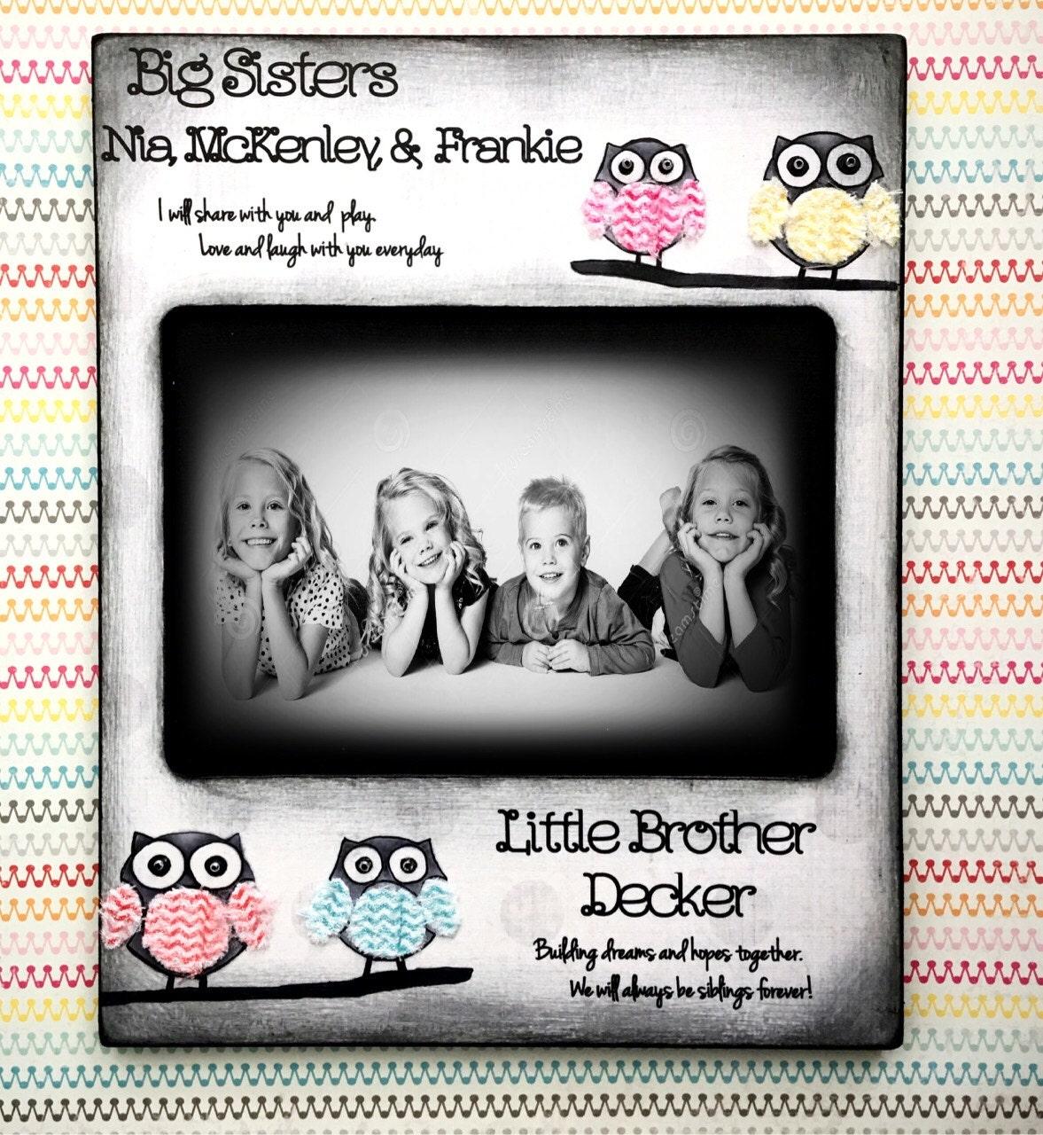 Owl Big Sister Little Brother Sibling Chevron rainbow | Etsy