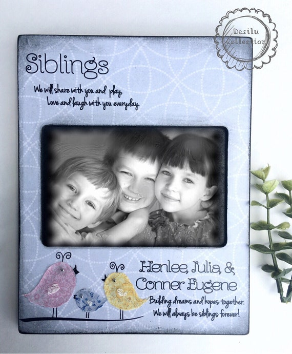 Siblings Frame kids room decor nursery birds name sign Picture Frame  Personalized Sisters Gift Children 4x6 5x7 8x10