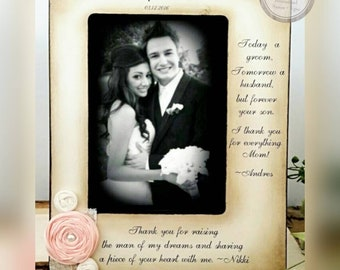 Mother of the Groom Frame from bride and groom two messages picture frame rustic wedding mom sign flower customize personalized 4x6 5x7 8x10