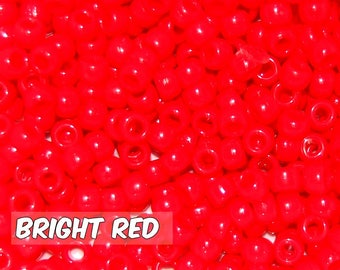 Bright Red Opaque 6x9 mm Barrel Pony Beads