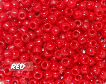 Red Opaque 6x9 mm Barrel Pony Beads
