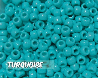Turqouise Opaque 6x9 mm Barrel Pony Beads