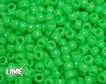 Lime Opaque 6x9 mm Barrel Pony Beads