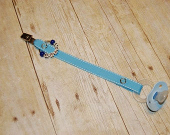 Pacifier Clip, Baby Blue with White Saddle Stitch, Personalization Available, Ready to Ship