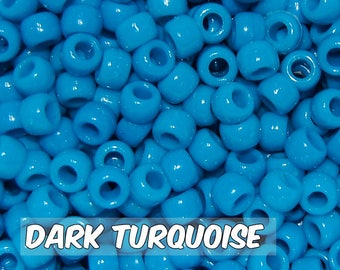 Dark Turquoise Opaque 6x9 mm Barrel Pony Beads