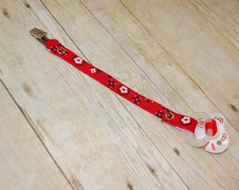 Pacifier Clip, Red Bandanna, Personalization Available, Ready to Ship